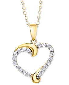Diamond Swirl Heart Pendant Necklace (1/2 ct. t.w.) in Sterling Silver, 14k Gold-plated Sterling Silver, or 14k Rose Gold-plated Sterling Silver