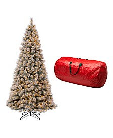 Pre-Lit Snow Flocked Artificial Spruce Christmas Tree with 900 Warm Lights, with Storage Bag
