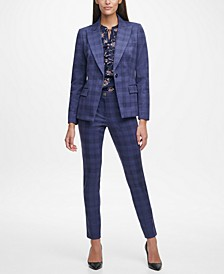 Plaid Single-Button Blazer, Ruffle-Front Printed Blouse & Skinny Plaid Pants