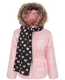 Little Girls Puffer Coat with Scarf