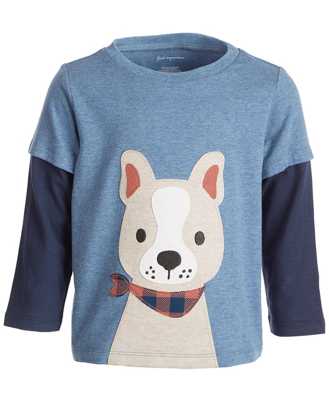 First Impressions Baby Boys Happy Dog Face Tee, Created for Macy's