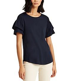 Plus Size Flutter-Sleeve T-Shirt