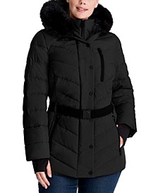 Plus Size Belted Faux-Fur Trim Hooded Puffer Coat