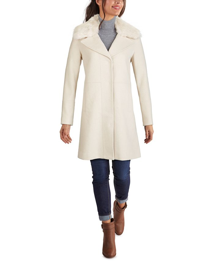Kenneth Cole - Faux-Fur-Collar Single-Breasted Coat
