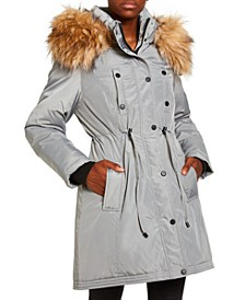 Juniors' Faux-Fur Trim Hooded Anorak Parka