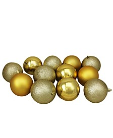 12 Count Shatterproof 4-Finish Christmas Ball Ornaments
