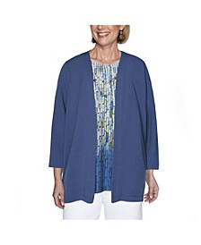 Women's Plus Size Crinkle Woven Two-For-One Top