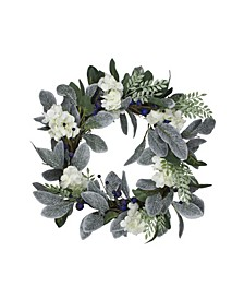 Iced Hydrangeas berries and Foliage Artificial Christmas Wreath-Unlit