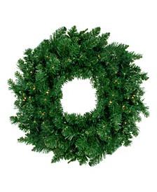 Pre-Lit Twin Lakes Fir Artificial Christmas Wreath-Warm LED Lights