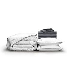 Luxe Soft Smooth Perfect 12-Piece Bedding Bundle with White Goose Down, Queen