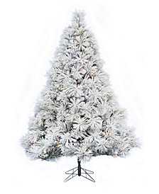 5' Prelit Atka Pine Flocked Christmas Tree with 300 LED Lights