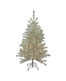 Soft Metallic Champagne Artificial Tinsel Christmas Tree-Clear Lights