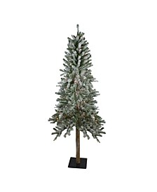 Pre-Lit Flocked Alpine Artificial Christmas Tree