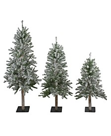 Unlit Set Of Slim Flocked Alpine Artificial Christmas Trees