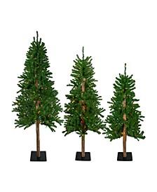 Pre-Lit Slim Alpine Artificial Christmas Trees