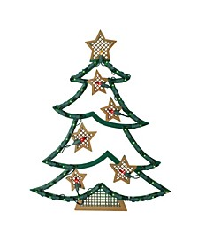 Lighted Christmas Tree with Stars Window Silhouette
