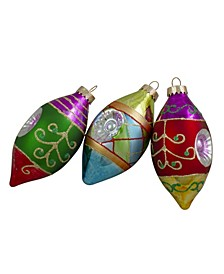 Count with Retro Reflectors Glass Finial Christmas Ornament Set