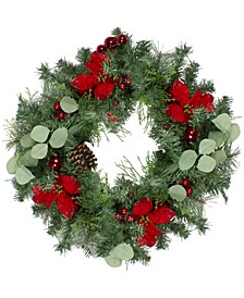 Pre-Decorated Poinsettia and Ornaments Artificial Christmas Wreath-Unlit