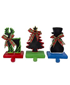 Reindeer Tree and Snowman with Chalkboard Christmas Stocking Holders, Set of 3