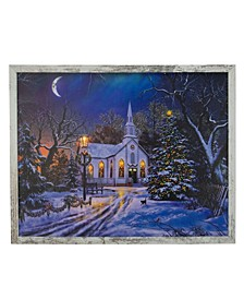 Distressed Frame LED Lighted Church Christmas Wall Canvas