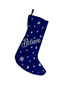"""LED Stocking """"Believe"""" with Snowflakes"""