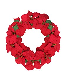 Unlit Artificial Poinsettia Flower Christmas Wreath