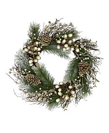 Unlit Acorn and Pine Cone Flocked Pine Needle Artificial Christmas Wreath