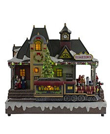 LED Lighted Christmas Village with Turning Function Music Decor