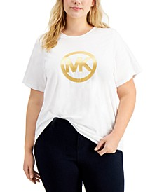 Plus Size Cotton Metallic Logo T-Shirt