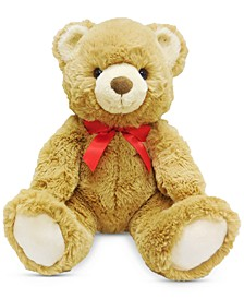 Christmas Cheer Plush Brown Bear with Red Bow, Created for Macy's