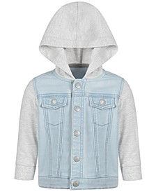 Baby Boys Contrast Denim Hoodie, Created for Macy's