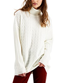 Juniors' Cable-Knit Turtleneck Tunic Sweater