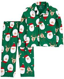 Toddler Boys 2-Pc. Fleece Santa & Reindeer Pajamas Set