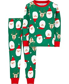 Toddler Boys 2-Pc. Cotton Santa & Reindeer-Print Pajamas Set