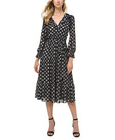 Dot Print Ruffled A-Line Dress