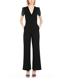 Faux-Leather-Sleeve Jumpsuit
