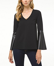 Hardware-Detail Bell-Sleeve Top