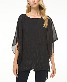 Plus Size Metallic-Threaded Dolman-Sleeve Top