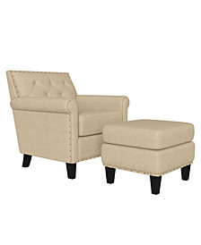 Handy Living Aviva Button Tufted Rolled Arm Chair and Ottoman Set
