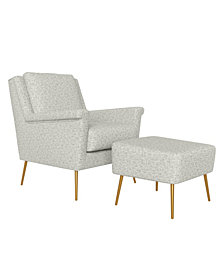 Handy Living Boston Mid Century Modern Chair and Ottoman Set