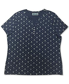 Petite Anchor-Print Top, Created for Macy's