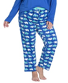 Plus Size Stretch-Fleece Pajama Pants