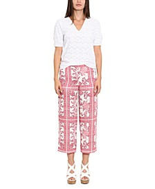 Plus Size Ornamental Wide-Leg Pants