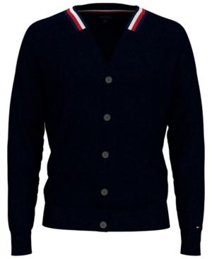 60s 70s Men's Jackets & Sweaters Tommy Hilfiger Mens William Regular-Fit V-Neck Cardigan $39.99 AT vintagedancer.com