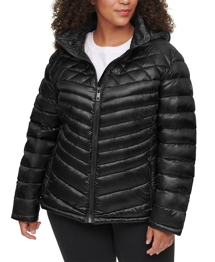 Calvin Klein - Plus Size Hooded Packable Puffer Coat