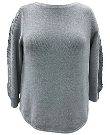 Plus Size Cable-Sleeve Sweater, Created for Macy's