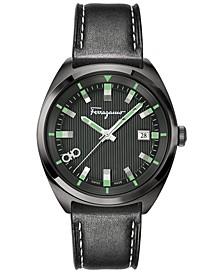 Men's Swiss Evolution Black Calf Leather Strap Watch 40mm