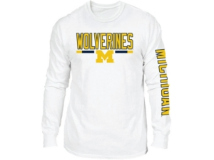 Retro Brand Michigan Wolverines Men's Team Stripe Long Sleeve T-Shirt