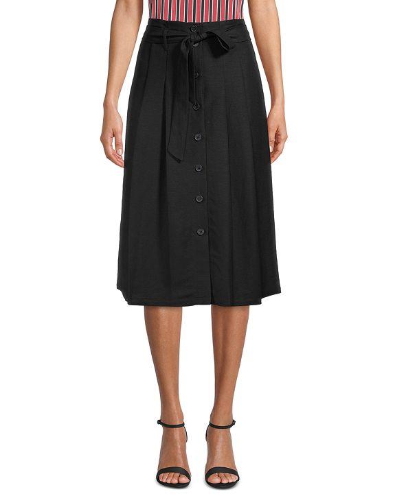 Anne Klein Button-Front A-Line Midi Skirt