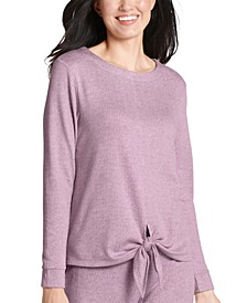 Ultra-Soft Ribbed Tie Front Loungewear Top
